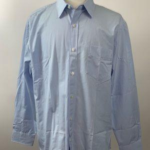 J Crew 80's 2 Ply Button Up  Shirt Blue XL